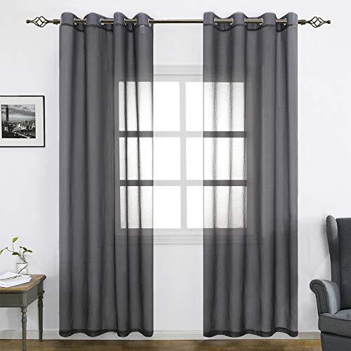 FLOWEROOM Grau Voile Vorhänge Transparent Gardinen mit Ösen Fensterschal Vorhänge2er Set 245x140 cm