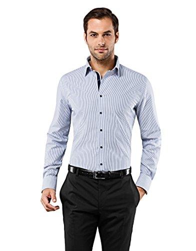 Vincenzo Boretti Herren-Hemd bügelfrei 100% Baumwolle Slim-fit tailliert gestreift New-Kent Kragen - Männer lang-arm Hemden für Anzug mit Krawatte Business Freizeit blau/weiß 39/40