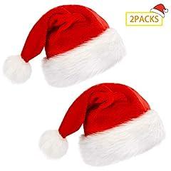 Idea Regalo - 2Pack Cappello di Babbo Natale, morbido cappello di Natale in peluche, cappello di Natale per adulti, cappello di Babbo Natale comfort in velluto unisex Pelliccia classica ispessita (38X28 cm Bambino)
