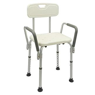 Cablematic–Silla de ducha ajustable en altura de la reposabrazos para las personas mayores