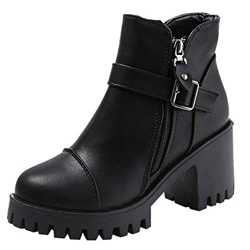MYMYGChelsea Boots Damen Seitlicher Reißverschluss Schuhe Gürtelschnalle Stiefel -