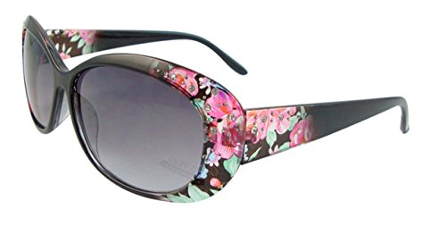 Ultra ® Black Framed Designer Adults Womans Girls Sunglasses with Floral Pattern On the Front and Pattern UVA UVB Protection Oversize Sunglasses