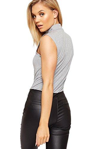 WearAll - Haut à col roulé sans manches - Hauts - Femmes - Tailles 36 à 42 Gris Clair