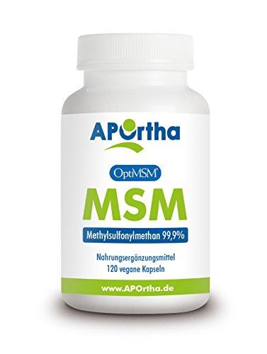 APOrtha OptiMSM ® 850 mg MSM - 120 Kapseln - PREMIUM Methylsulfonylmethan HOCHDSIERT -