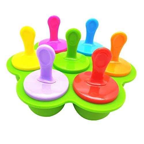 VNEIRW Eislutscher Popsicle Formen 7 Kugel Eiscreme Popsicle Formen Wiederverwendbare Bunte Silikonform Eisform Eisamstiel DIY EIS Pop Macher, BPA Frei