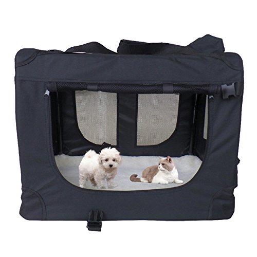 mc Star leichte Transportbox für Haustiere mit Fleece-Matte tragbar faltbar, Hundekäfig, (Gr. M/L/XL, Schwarz & Blau)