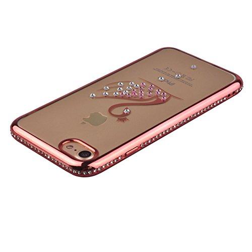 Voguecase® Pour Apple iPhone 7 4,7, TPU avec Absorption de Choc, Etui Silicone Souple, Légère / Ajustement Parfait Coque Shell Housse Cover pour iPhone 7 4,7 (Or frame-pendentif)+ Gratuit stylet l'écr Pink frame-cygne