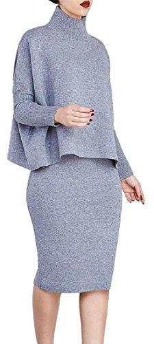 Frieda Fashion - Damen 2-Teiler-Strick Kleid, Rock und Rollkragen Pullover , 3XL, Hellgrau