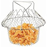 Chef Basket 12 In 1 Kitchen Tool For Cook, Deep Fry, Boiling Solid Steel Delux - Silver