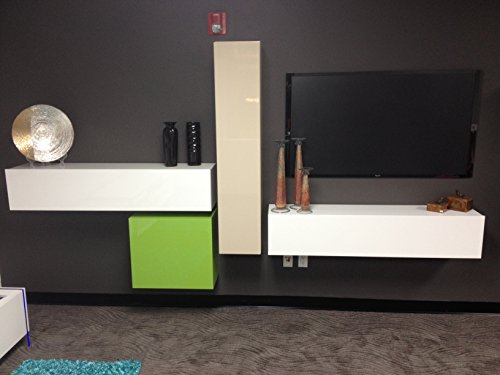 Hänge-Element 1-türig Box, 139 x 29 x 31 cm, weiß hochglanz - 2
