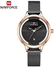 Naviforce Women's Black Dial Stainless Steel Mesh Chronograph Watch - NF5014