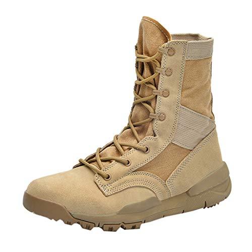 MISSQQStivali Alti Stringati da Uomo Pattuglia Militare/Militare Stivali da Combattimento in Pelle Nera Stivali da Deserto di Sicurezza
