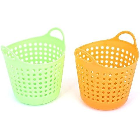 Inicio Verde Naranja de plástico perforada Almacenamiento cesta envase 2pcs