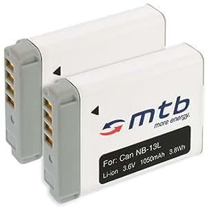 2 Batteries NB-13L NB13LH pour Canon PowerShot G7 X (3.6V - 1050mAh - avec INFOCHIP)
