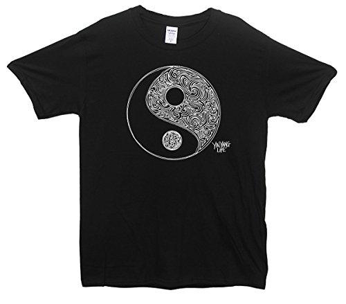 Ying Yang Life Schwarz Peace Fashion T-Shirt Schwarz