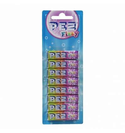 PEZ Bonbons Fizzy 8 Packungen Brause-Bonbons mit Fruchtgeschmack, 5-fach sortiert. Gluten- und laktosefrei