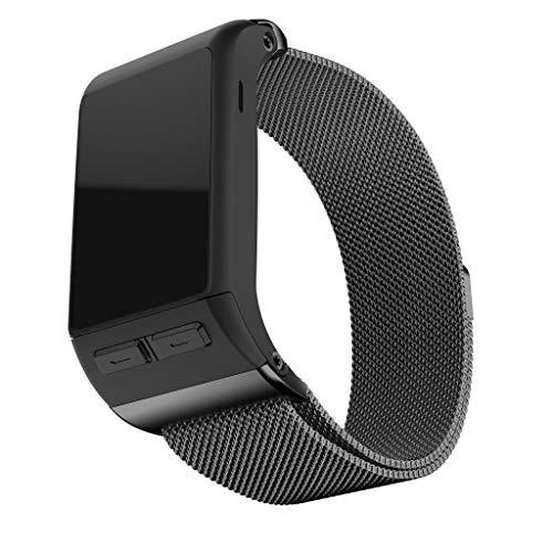 MuSheng Compatible Für Garmin Vivoactive HR Smart Watch Armband,Elegant Schön Rostfreier Stahl Metallisch Uhrenarmband Smartwatch Ersatzarmband aus Metall mit Magnetschlaufe (Schwarz) - Schwarze Abgerundete Metall-rahmen