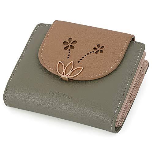 Lotus Kleine Brieftasche PU Leder Kartenhalter Organizer Mädchen Reißverschluss Grün ()