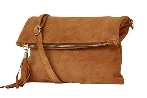 Clutch ,Borse a spalla (28 / 19 / 4 cm ) in pelle Mod. 2059 by Fashion-Formel WL-Caramello