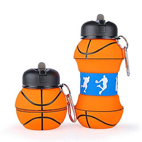 Borraccia Basket-Scuola-Divertente e Indistruttibile, In Silicone Apribile e Richiudibile Antigoccia e Riutilizzabile- Da 550 Millilitri, Per Ragazzo e Ragazza-Idea regalo