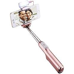 Mpow selfie stick con luce di riempimento del bluetooth, allungabile monopiede con otturatore remoto integrato, regolabile a 270gradi, torcia, specchio, adatto per iPhone 6s/6/6Plus, LG G5, moto x/g