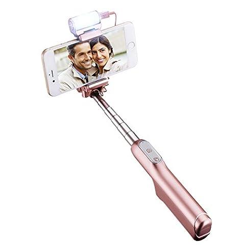 Selfie Stick, Mpow Perche de Selfie Bluetooth avec LED Extensible Poche Intégré Baton de Selfie avec télécommande déclencheur, 270 Degrés Tête Réglable, Télescopique pour iPhone 7/6/6 Plus, Samsung Galaxy S6/S6 edge/S5, Note 5/4, LG, Moto X/G G5 et Android Smartphones (or rose)