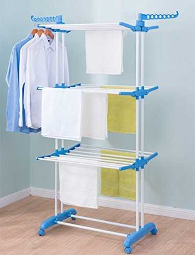 PAffy 2 Poll 3 Layer Rack Hanger with Wheels for Drying Clothes(Multicolour)