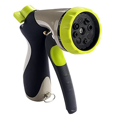 Garden Hose Nozzle BESTOPE Hand Spray Nozzle - Heavy Duty 8 Adjustable Pattern Pistol Grip Front Trigger Water Nozzle with Connector - High Pressure for Watering Plants, Car Wash and Showering Pets