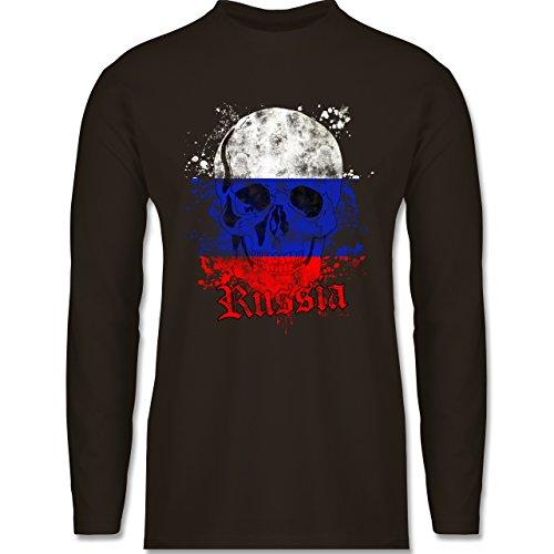 EM 2016 - Frankreich - Russia Schädel Vintage - Longsleeve / langärmeliges T-Shirt für Herren Braun