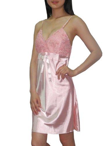 SEXY SILK COUTURE: Damen Wunderschöne Nachtwäsche Kleid / Nachthemd S-M rosa (Nachtwäsche Couture)
