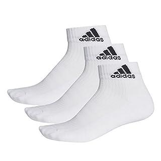 Adidas Men 3-Stripes Performance Ankle 3P Socks - White/White/White, Size 43 - 46