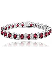Sterling Silver 13.75ct Created Ruby & Diamond Accent S and Oval Link Bracelet