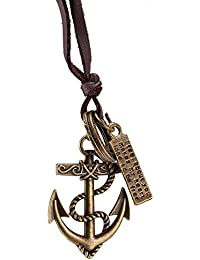 Young & Forever Men-Tastic Collection Brown Leather Anchor Pendant Necklace For Men / Women / Boys / Girls N667