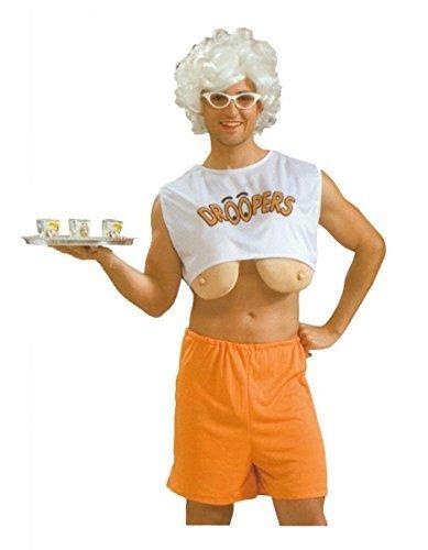 Erwachsene Herren Droopers Hooters Junggesellenabschied Kostüm Kleid Outfit mit Blondine Perücke & Brillen