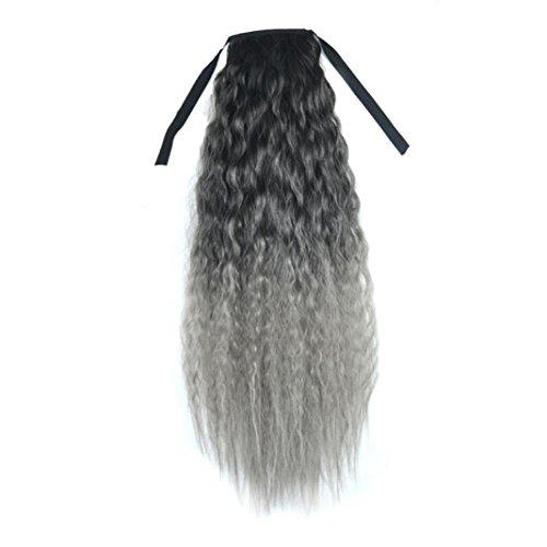DRESS_start Gradient Farbband Dickes welliges Curly Long Pferdeschwanz Schachtelhalm Clip Haare Erweiterungen Perücken 60cm (B)