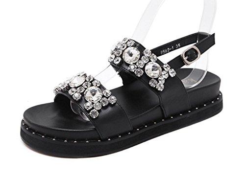 YCMDM Femmes Cool Été Nouvelles Chaussures confortables Sandales Diamond Simple Black
