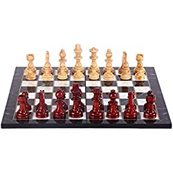GiftHome - Juego de ajedrez de Madera de boj Staunton para Adultos, Piezas Hechas a Mano y Tablero de ajedrez de Madera de mármol King 3.5 Pulgadas