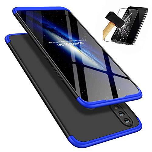 MISSDU kompatibel mit Premium Hart PC 360 Grad Hülle Huawei Honor 8X Hülle + Panzerglas,3 in1 Handytasche Handyhülle Schutzhülle Cover - Schwarz+Blau - Wanderer Cookies