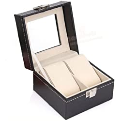 HQdeal Faux Leather Jewellery Box Storage Case Black Watch Case Box 2 Grids