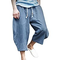 362df6ef07e Mens Casual Baggy Cropped Trousers Chinos Cotton Linen Lightweight  Elasticated Waist Wide Leg Haren Pants Plus