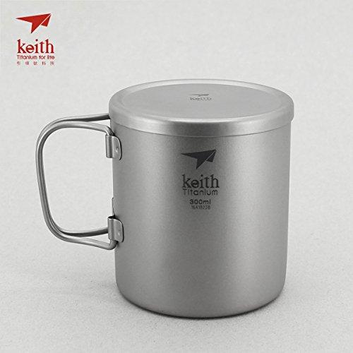 Keith ti3352New doppelwandig Titanium Becher Camping Tasse Wasser Cup 300ml 100g KS812