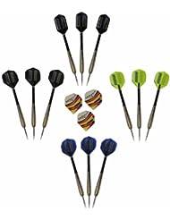 McDart - Set de 12 dardos con punta de acero y 1 set de plumas de plástico para dardos