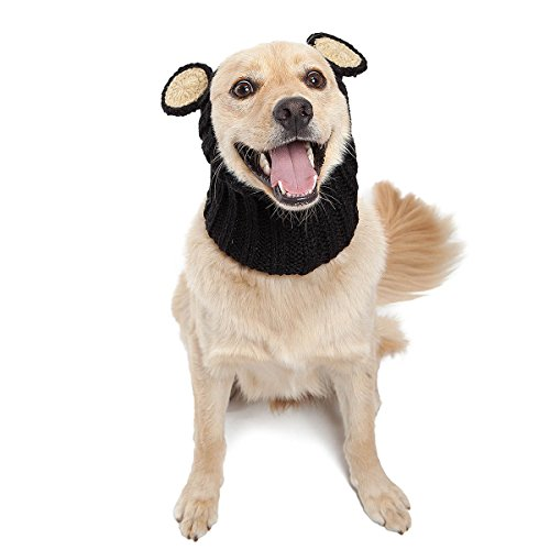 (Zoo Kapuzenschal die Original Knit Bear Dog Snood, groß, Schwarz)