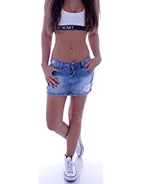 Sexy Damenrock Jeans Minirock Mini Rock Jeansrock Gogo Damenrock Leder-OptikXL/42