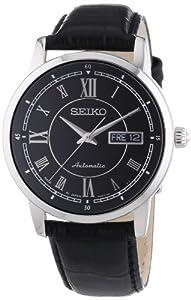 Reloj Seiko Mechanik SRP259J2 automático para hombre, correa de cuero color negro
