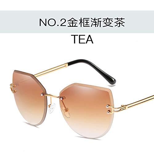 ROirEMJ Sonnenbrille, Frauen Uv-Schutz 400 Brillen, Mode Übergröße Rahmenlose Sonnenbrille, Weiblich Jahrgang Fahren Auge Glas Damen Trend Outdoor Reiten Brillen
