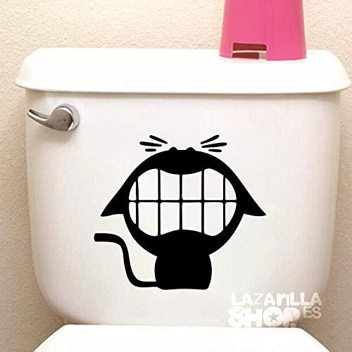 lazarillaSHOP™ • Pegatina Sticker Vinilo Gato WC Pegatina para Aseo Puerta del baño Toilet Sticker • 20x17,5cm • Color Negro