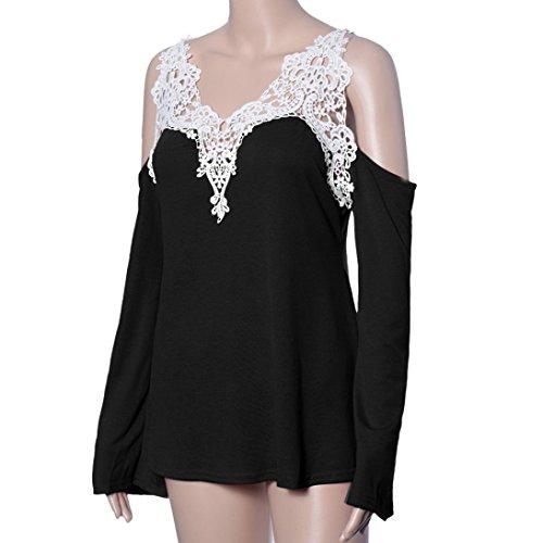 Tonsee® Loose Women manches longues en dentelle sexy épissage dames chemise blouse tee sommets Noir