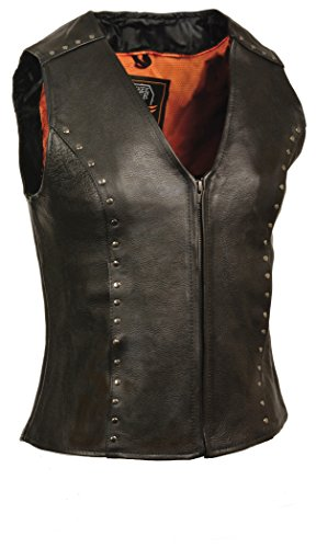 Preisvergleich Produktbild Milwaukee Women's Zipper Front Leather Vest (Black,  Medium)