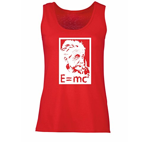 lepni.me Damen Tank-Top Physikwissenschaftler Albert Einstein, Geschenk für Wissenschaftsliebhaber (X-Large Rot Weiß)